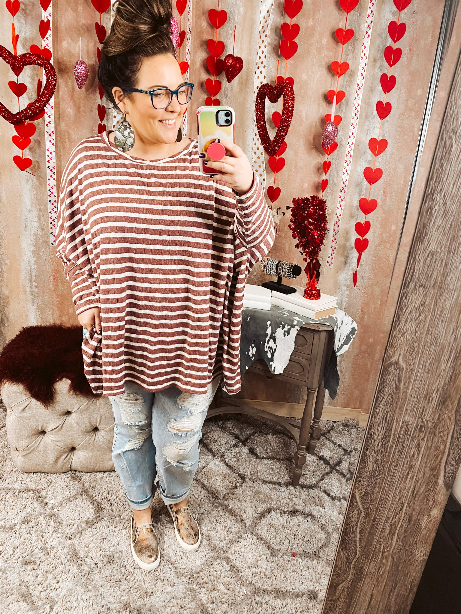 Twisted Neck Plum Striped Top