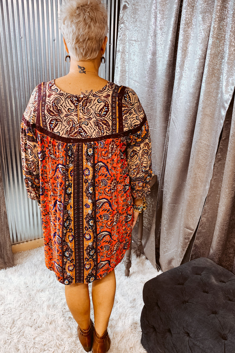 L/S Printed Dress w/ Crochet