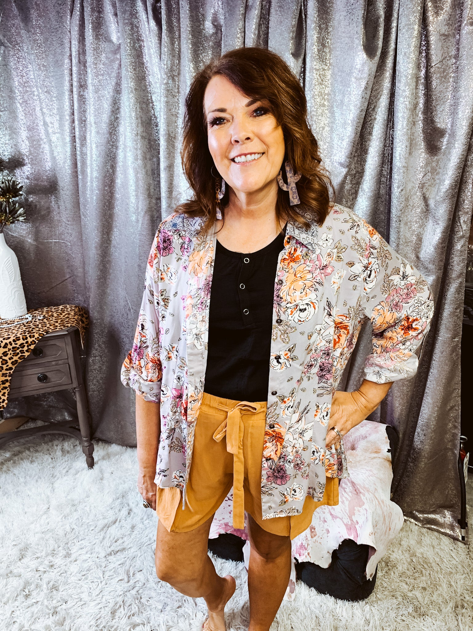 Button Up Floral Top
