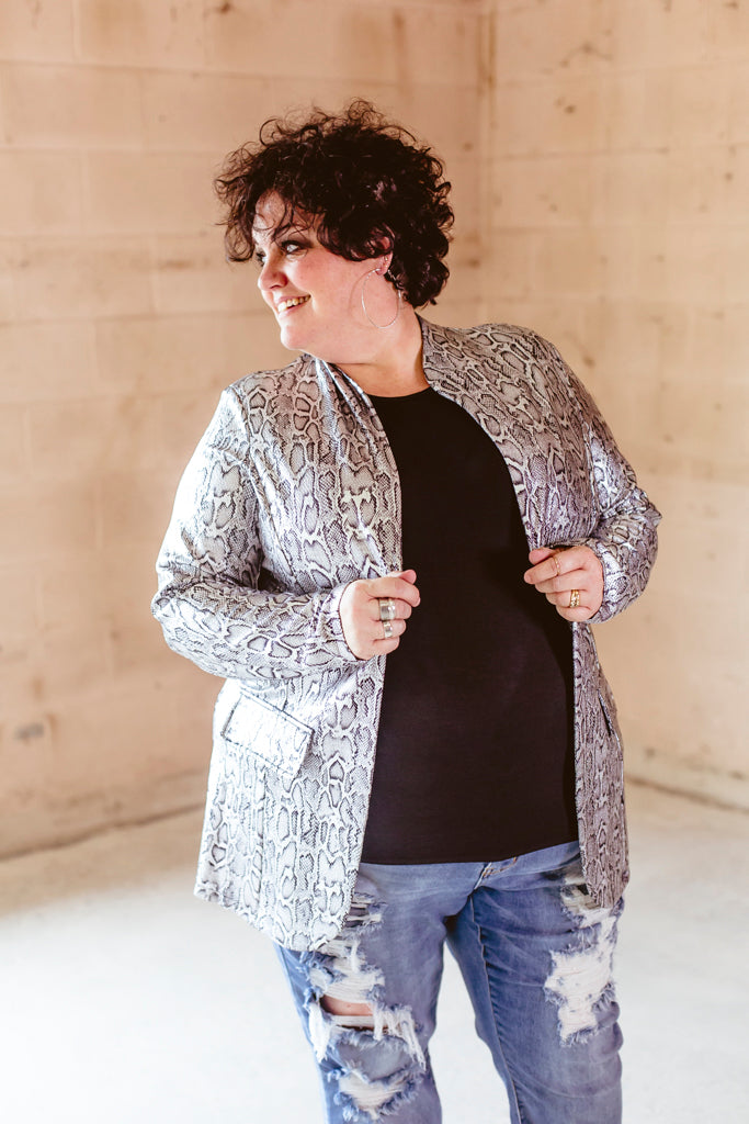 Metallic Snakeprint Blazer