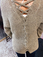 Back Lace Up Natural Sweater