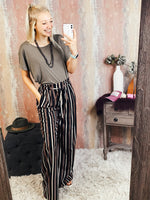 Black Striped Wide Leg Pant