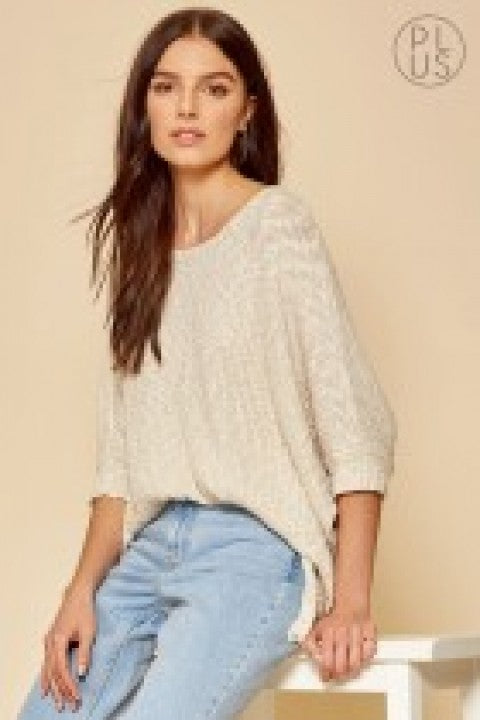 Taupe Boat Neck Knit Top w/ Dolman Sleeves