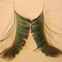 Load image into Gallery viewer, Peacock Feather Earrings