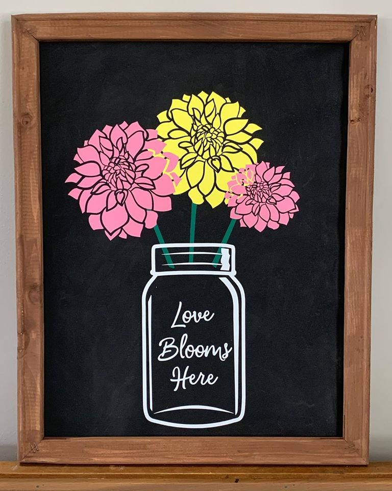 Reverse Canvas Wall Art Love Blooms Here