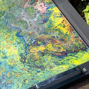 Wooden Serving Tray w Acrylic Pour Art