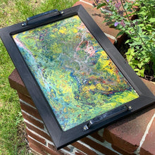 Load image into Gallery viewer, Wooden Serving Tray w Acrylic Pour Art