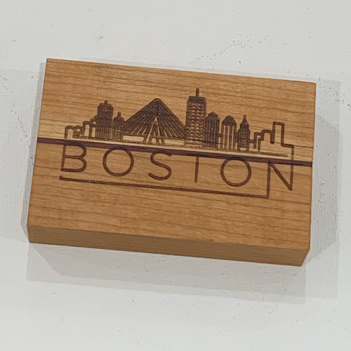 Wooden Boston Magnet