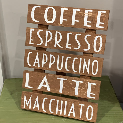 Coffee Bar Wooden Easel Sign