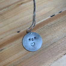 Load image into Gallery viewer, Sterling Silver Handstamped Pendant Necklace Mom