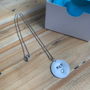 Sterling Silver Handstamped Pendant Necklace Mom