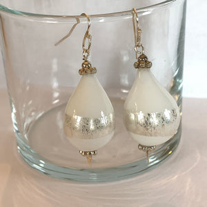 Blown Glass Teardrop Earrings - White Point