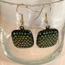 Load image into Gallery viewer, Reclaimed Dichroic Glass Earrings - Black Dot