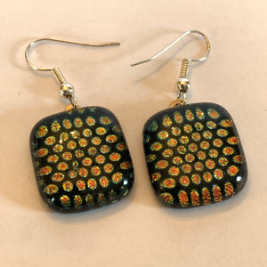 Reclaimed Dichroic Glass Earrings - Black Dot