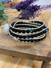 Load image into Gallery viewer, Leather & Beaded Triple Wrap Bracelet - Black & White