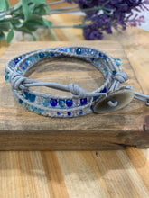 Load image into Gallery viewer, Leather & Beaded Triple Wrap Bracelet - Light Blue