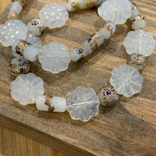 Load image into Gallery viewer, Pressed Glass White Flower Bracelets
