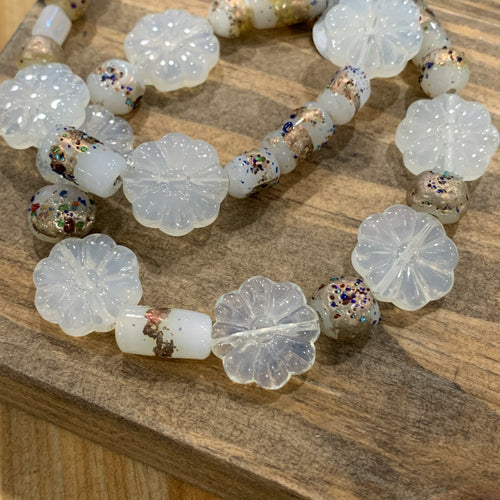 Pressed Glass White Flower Bracelets
