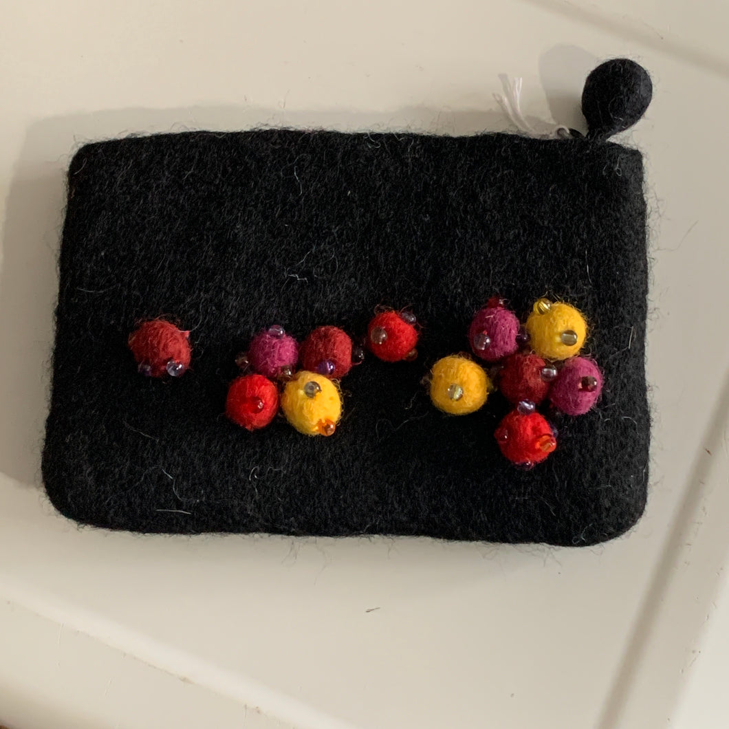 Needle Felted Coin Purse -  Black
