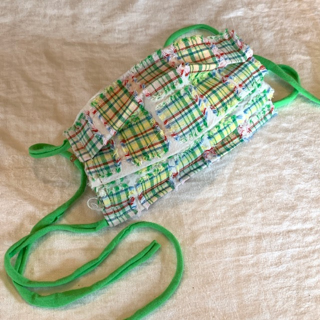 Face Mask: Adult Green/Yellow Madras Plaid