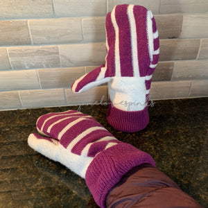 Recycled Sweater Mittens Purple Stripe White Palm