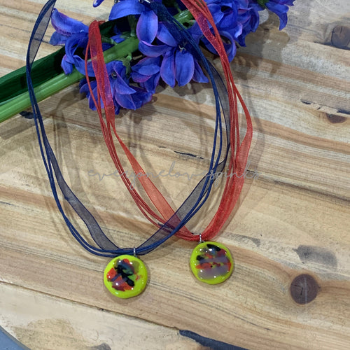 Fused Glass Ribbon Necklaces