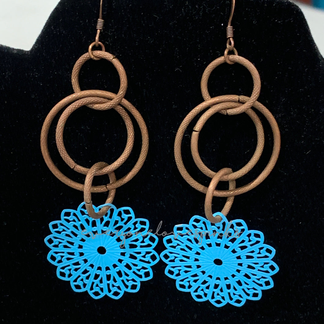 Copper Ring and Filigree Dangle Earrings