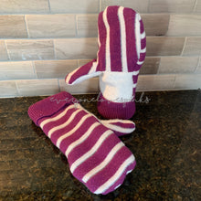 Load image into Gallery viewer, Recycled Sweater Mittens Purple Stripe White Palm