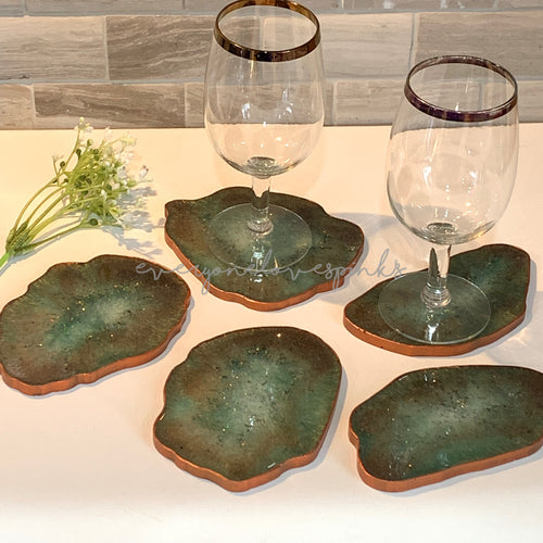 Geode Resin Coasters - Emerald