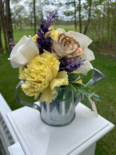 Load image into Gallery viewer, Watering Can Wood Flower Arrangement
