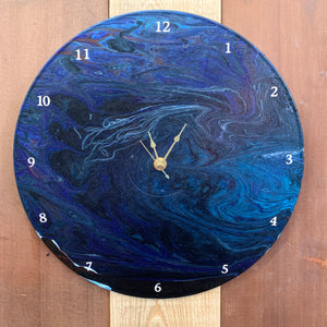 Paint Poured Record Clock