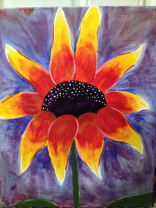 Guided Painted Canvas Class sunflower