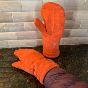Recycled Sweater Mittens Orange