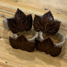 Load image into Gallery viewer, Metal Leaf and Twine Napkin Rings