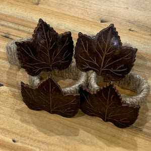 Metal Leaf and Twine Napkin Rings