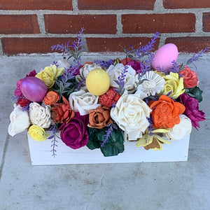 Spring Crate Wood Flower Centerpiece