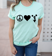 Load image into Gallery viewer, Peace Love Cheer Cheerleader Shirt