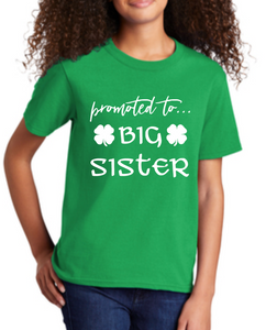 Promoted to Big Sister St Patricks Day Kids Pregnancy Reveal Shirt