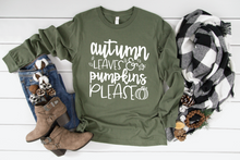 Load image into Gallery viewer, Autumn Leaves Pumpkins Please Fall Long Sleeve Shirt
