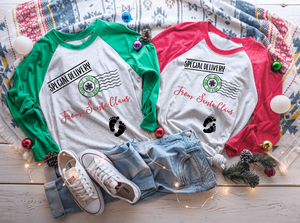 Special Delivery From Santa Claus Christmas Pregnancy Raglan Shirt