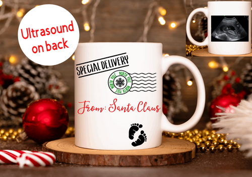 Pregnancy Santa Special Delivery with Ultrasound Picture Mug Christmas Gift