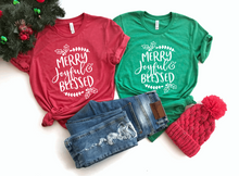 Load image into Gallery viewer, Merry Joyful & Blessed Christmas Shirt