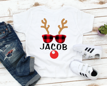 Load image into Gallery viewer, Rudolph Personalized Name Kids / Toddler Christmas Shirt