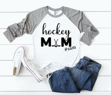 Load image into Gallery viewer, Hockey Mom Personalized Hashtag Name Raglan Shirt