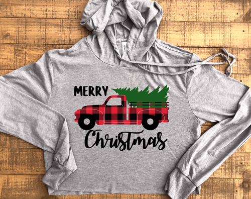 Merry Christmas Vintage Buffalo Truck Christmas Cropped Long Sleeve Shirt