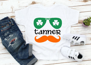 Boys / Toddler Personalized Name Mustache St Patricks Kids Shirt