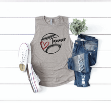 Load image into Gallery viewer, Baseball / T-Ball Mom Personalized Name Womens Muscle Tank