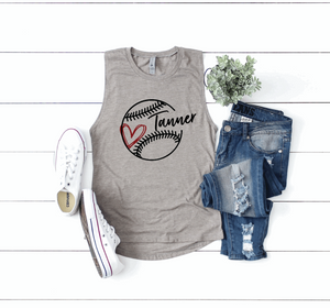 Baseball / T-Ball Mom Personalized Name Womens Muscle Tank