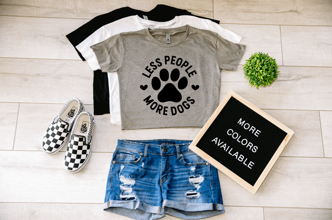 Less People More Dogs Dog Crop Top Cropped T-shirt