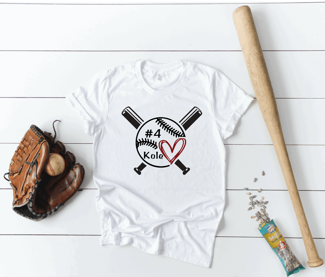 Baseball / T-Ball Mom Cross Bats Personalized Name & Number Shirt
